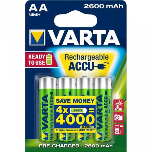 Bilde av VARTA Oppladbart AA 2600 mAh 1,2V 4-pakning
