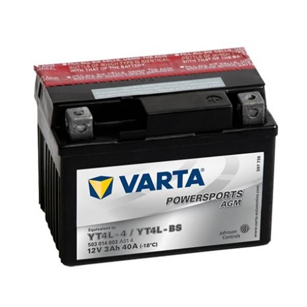 Bilde av  VARTA YTX4L-BS AGM MC Batteri 12V 3AH 40CCA (114x71x86mm) +høyr