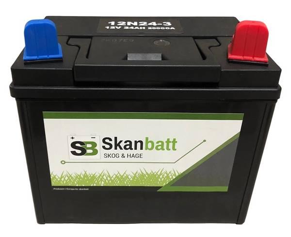 Bilde av SKANBATT Plenklipper batteri 12V 24AH 200CCA (196x130x185mm) +hø